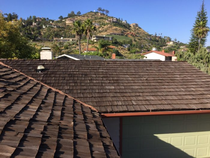 View of the old shake roof where the new solar panels will soon be.